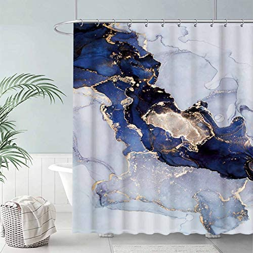 "Seasonwood Navy Marble Fabric Shower Curtain Set with 12 Hooks Blue and Gold Abstract Ink Art Texture Pattern Bathroom Bathtubs Decor Easy Care Waterproof Washable Durable Polyester 72""x72"""