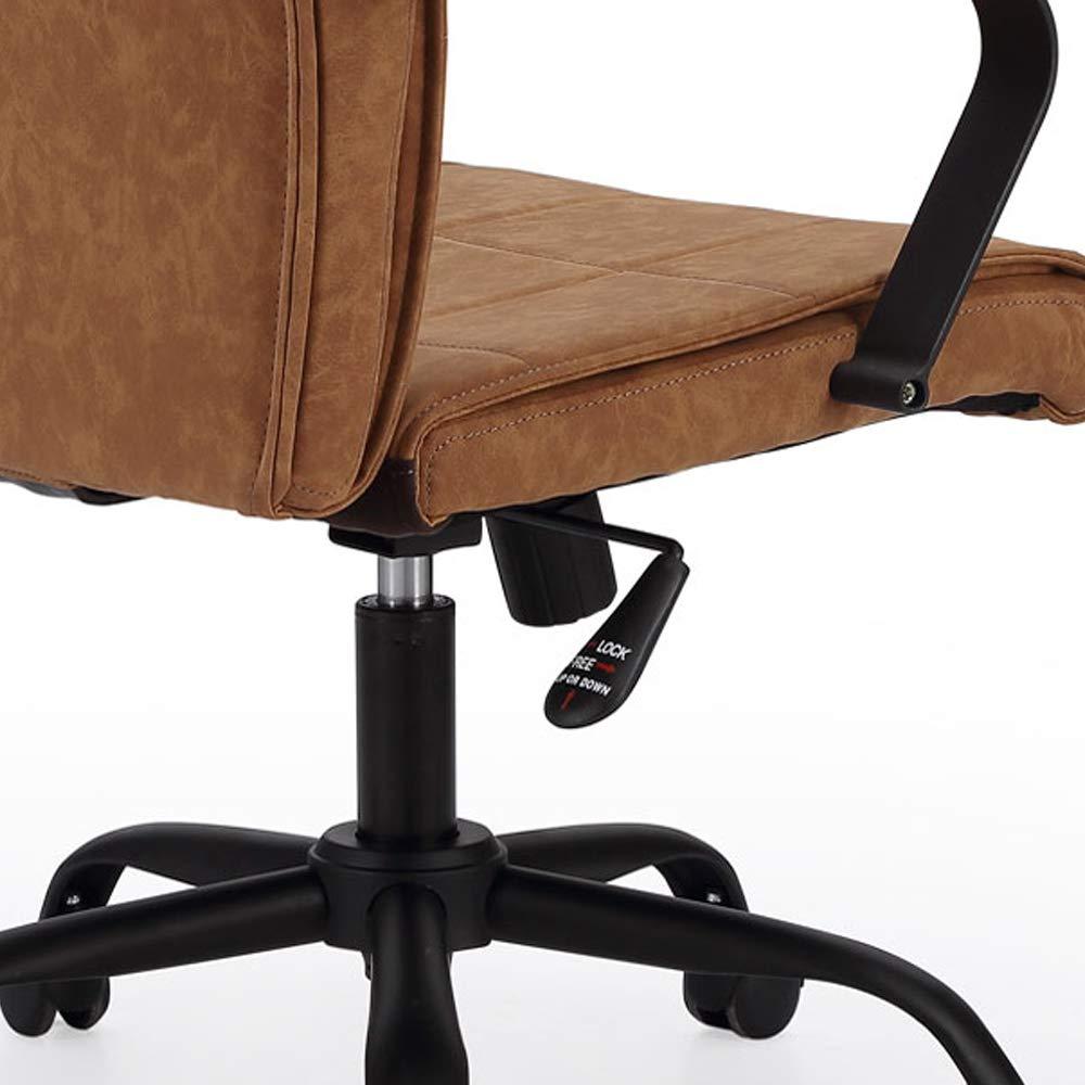 Adec – Colonial, Silla de Oficina, Sillon de despacho Acabado en similpiel, Medidas: 66 x 93-107 cm de Alto (Camel Cuir - Negro)