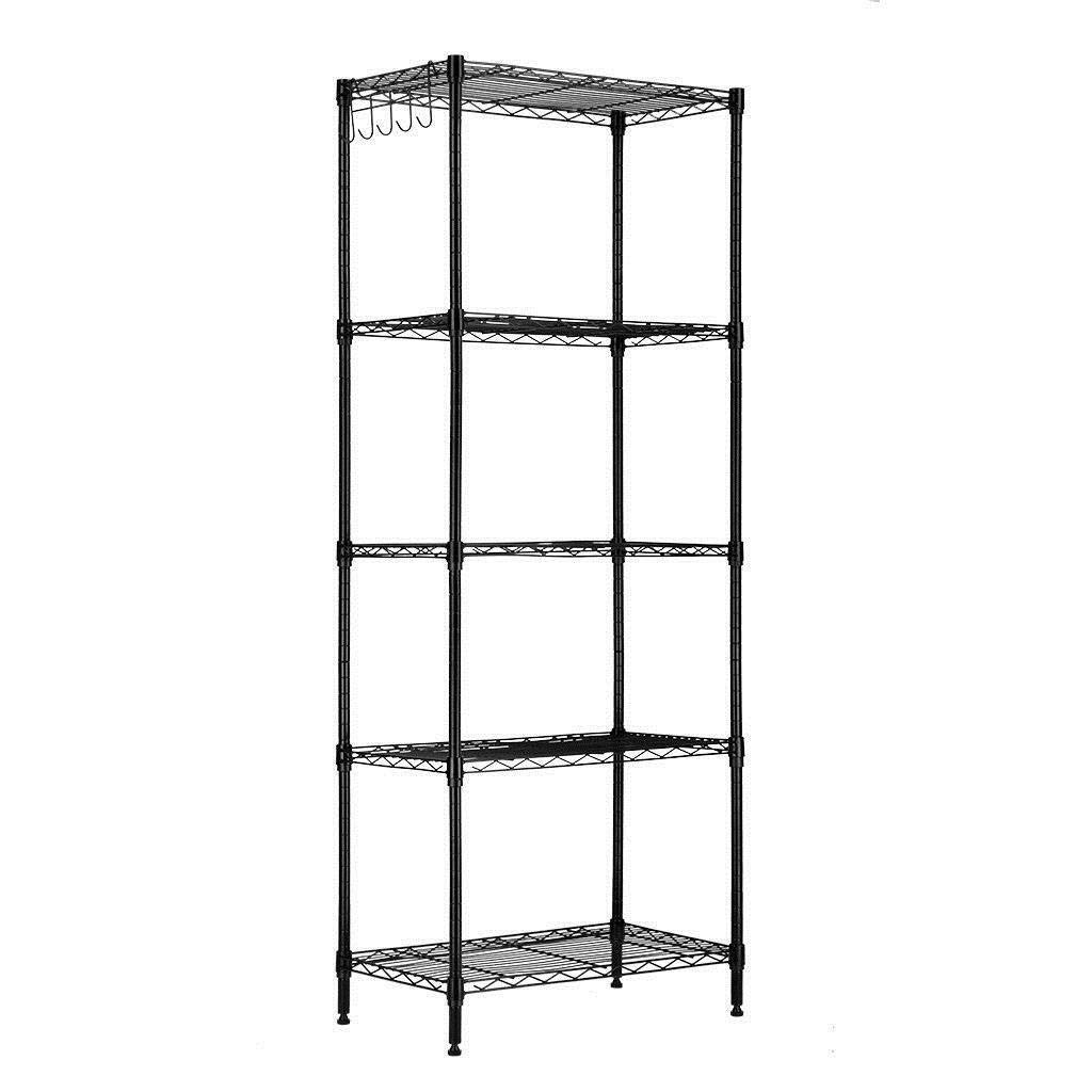 PuiPongPang 60x22x12 Inches 5 Layers Wire Shelving Rack Adjustable Shelf Tier Metal Steel Heavy Duty Storage Unit Commercial