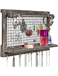 Rustic Brown Jewelry Organizer with Removable Bracelet Rod from Wooden Wall Mounted Holder for Earrings Necklaces Bracelets and Other Accessories