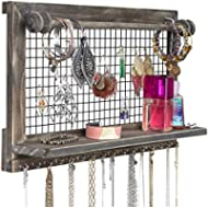 SoCal Buttercup Rustic Brown Jewelry Organizer with Removable Bracelet Rod from Wooden Wall...