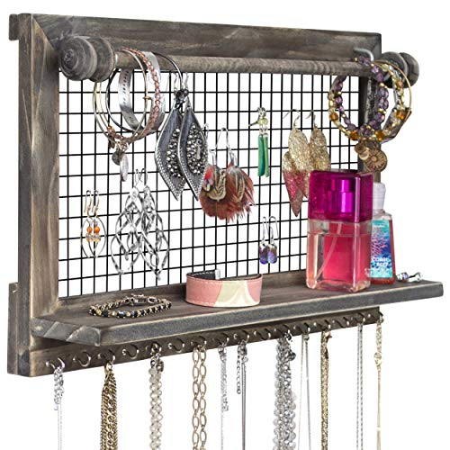SoCal Buttercup Rustic Brown Jewelry Organizer with Removable Bracelet Rod from Wooden Wall Mounted Holder for Earrings Necklaces Bracelets and Other Accessories