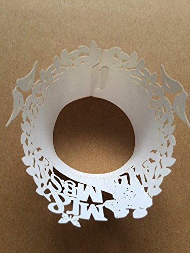 Sorive ® 120x White Color Mr & Mrs Filigree Paper Laser Cut Cupcake Wrappers Wedding Engagement Party Cake Stencil Cupcake Liners Fancy Flower Lace Wrapper Wraps -