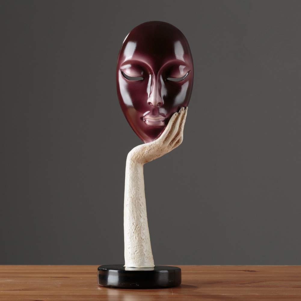 RYDX Denker Harz Skulptur,Moderne Nordic-Stil Maske Dekoration Statue Für Home Wohnzimmer Office-AW