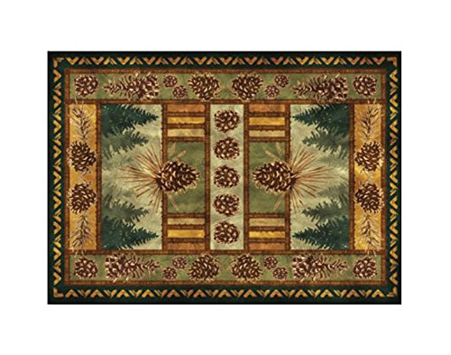 Rustic Pinecone - River's Edge Products Polyester Accent Rugs Rustic Pinecone Print Water Resistant Indoor/Outdoor Area Rug 52 X 37 Inch 37 X 52 X 0.25 Inches Brown