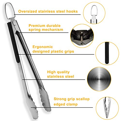 Double pack Stainless Steel cooking tongs by ROMANTICIST