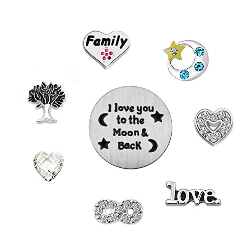 ReisJewelry Love Mom Family Floating Charms Set For Glass Living Memory Locket Necklace&Bracelet (I Love You To The Moon And Back) -
