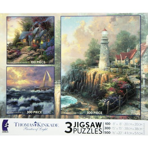 Thomas Kinkade 3 Puzzles Box Set (THE LIGHT OF PEACE, PERSEVERENCE & SEASIDE HIDEAWAY) MADE IN USA PUZZLE