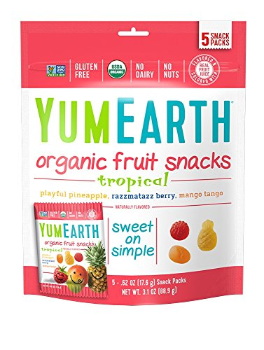 60 Gummi Fish - YumEarth Organic Tropical Fruit Snacks , 5 Snack Packs Per Bag (Pack of 12)