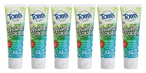 Anticavity Toothpaste Kosher Natural Fluoride - Tom's of Maine Natural Wicked Cool Fluoride Toothpaste, Mild Mint, 4.2 Ounce, Pack of 6