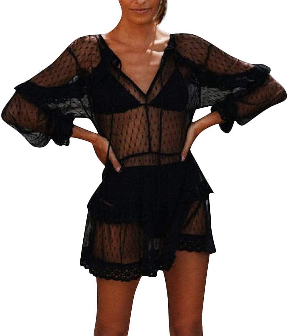 Carolilly Damen Mode Streetwear Transparent Kleid Party Clubwear Unterkleid Bikini Cover up