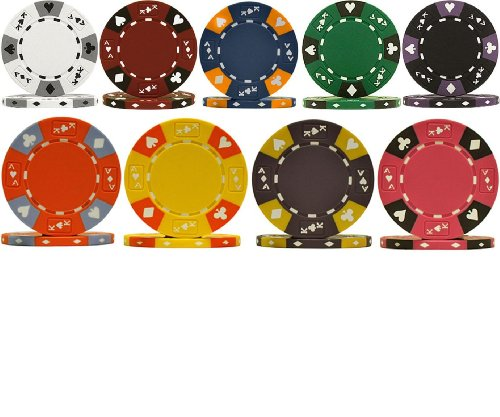 Tri-Color ACE King Clay 14g Poker Chips - 9 Chip Sample Set