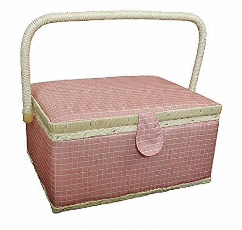 【Rurumi】大容量 裁縫箱 ソーイングボックス 30.5 × 23×16cm ソーイングバスケット (ピンク)