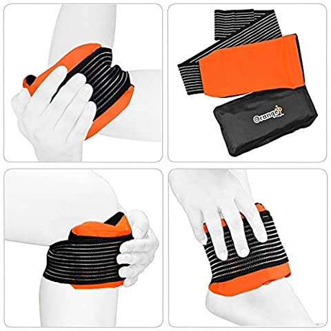 Premium Gel Pack and Strap by Orange Physio - A Reusable Hot/Cold Ice Gel Pack for Pain Relief and Sprains (Fits Most Body