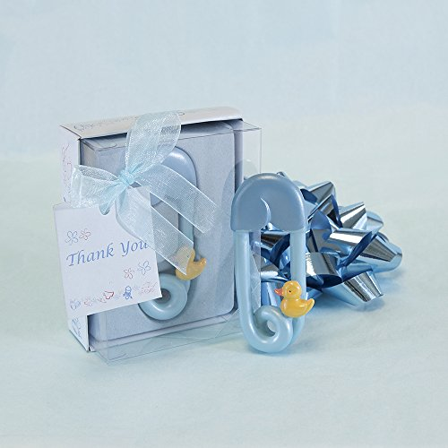 Lunaura Baby Keepsake - Set of 12 Baby Safety Pins Duck With Thank You Card Favors - Blue ()