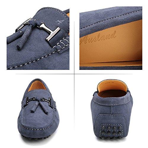 comode Uomo di Loafers Scarpe Casual Uomo D7157 con Pelle Grigio Bucciata Mocassini Shenduo Scarpe Frangia AxwIzpz