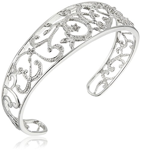 Diamond Cuff Silver (Sterling Silver Diamond Filigree Cuff Bracelet (1/4 cttw, I Color, I3 Clarity), 7
