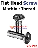 25 Pcs 10-32 x 3-1/2 Flat Head Machine Thread Screws Phillips Drive Stainless Steel 18-8 Full Thread Bright Finish Meets Right Hand Thread Made in US Super-Deals-Shop