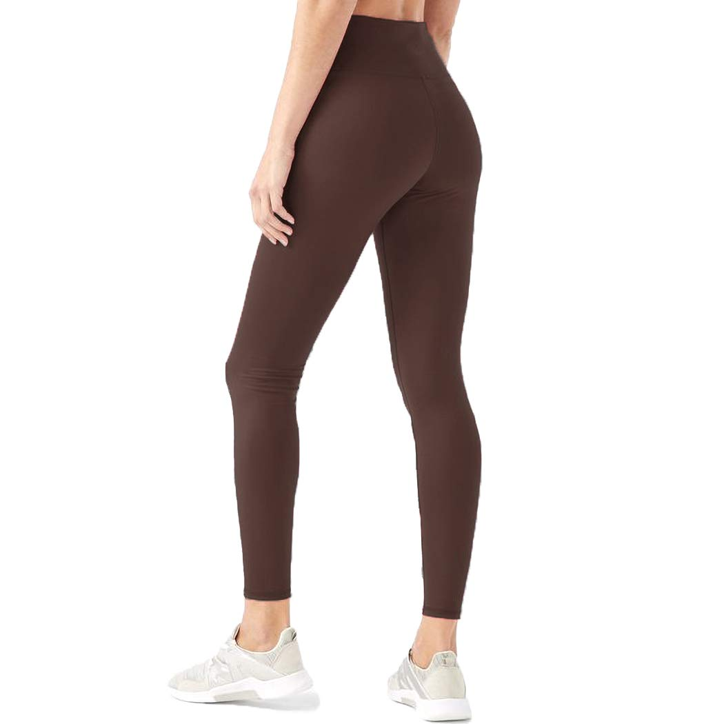 HIGHDAYS Leggings for Women High Waisted Tummy Control Opaque Slim Soft Pants for Cycling, Yoga, Running (One Size, Coffee) by HIGHDAYS
