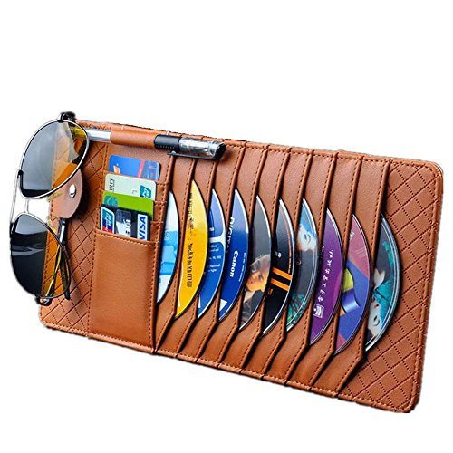 TO Design Auto Luxury Leather Auto Car Sun Visor Shade Organizer Brown CD/DVD Sports Fashion Travel Holder Bag Cards Wallet Pocket Pen Glasses Clip  Cover ()