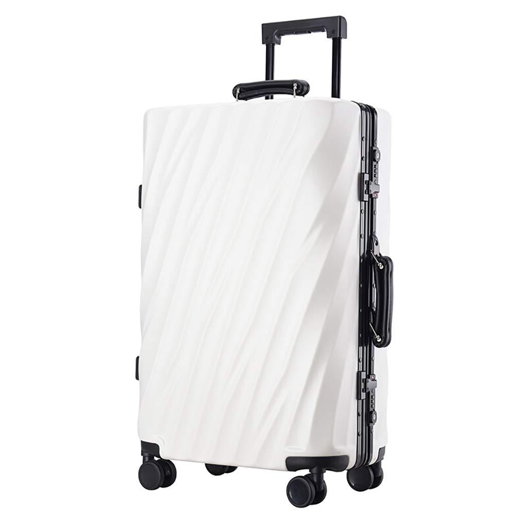 TSA税関ロック付き20インチビジネス軽量荷物、キャビンPCスーツケース4ホイールトラベルトロリーキャリーオン、男性用、6色 35.5x24x50.5cm White B07PB3RF9W