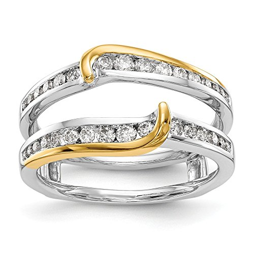 (14K Two-tone Diamond Enhancer Ring Guard Wrap 0.492 cttw)