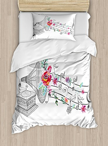 Girl 2 Ornament - Ambesonne Music Duvet Cover Set Twin Size, Vintage Style Gramophone Record Player with Floral Ornament Blossom Antique, Decorative 2 Piece Bedding Set with 1 Pillow Sham, Grey Black White