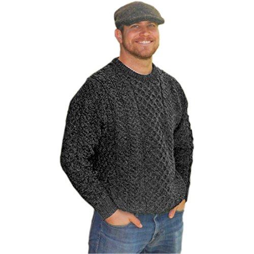 Aran Knit Sweaters - Carraig Donn Mens Traditional Aran Sweater, Real Irish Wool, Made In Ireland, Large, Gray