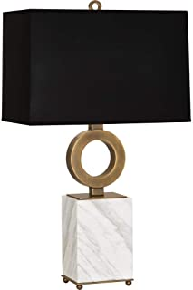 product image for Robert Abbey 405B Oculus - One Light Table Lamp, Warm Brass/White Marble Base Finish with Black Painted Opaque Parchment/White Shade