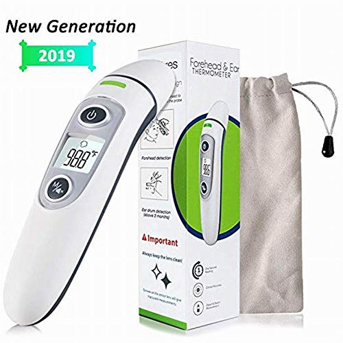FashionSun Thermometer Test for Forehead and Ear, Digital Infrared Temporal Thermometer for Fever, Instant Accurate Reading for Baby Kids and Adults (White)
