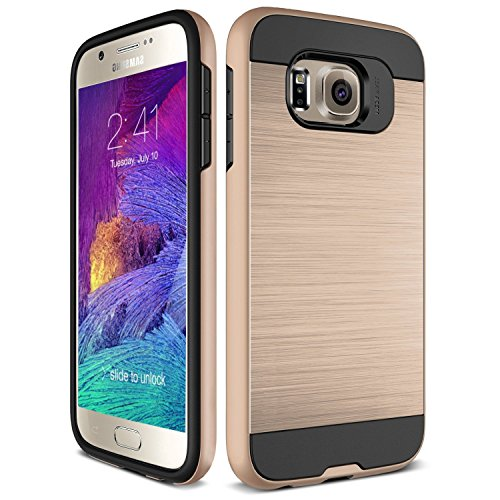 S7 Case, TekSonic Samsung Galaxy S7 Case [Gold] [Brushed Metal Texture] Heavy Duty Full Cover Protection Tough Case for Samsung Galaxy S7 Phones (Golden)