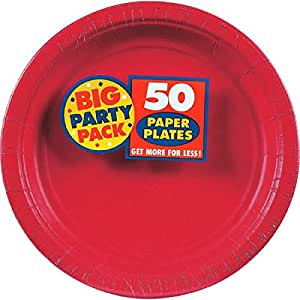 """AMSCAN Big Party Pack 7"""" Paper Luncheon Plate 50/Pack: Apple Red"""