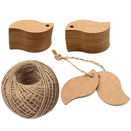 Paper Tags,100 Pcs Gift Tags,Leaf Shape Hang Labels with 100 Feet Jute Twine for DIY Arts and Crafts, Wedding Christmas Thanksgiving and Holiday (Brown)