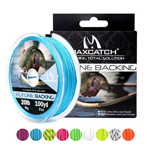 M MAXIMUMCATCH Maxcatch Braided Fly Line Backing for Fly Fishing 20/30lb(White, Yellow, Orange, Black&White, Black&Yellow) (Blue, 20lb,100yards)