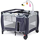 Crib with Detachable Changing Table Costzon Baby Playard, Convertible Playpen with Bassinet, Changing Table, Foldable Travel Bassinet Bed with Music Box, Whirling Toys, Wheels & Brake, Travel Ready with Oxford Carry Bag (Grey)
