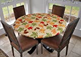 "Elastic Edged Flannel Backed Vinyl Fitted Table Cover - All-Over Leaves Pattern - Large Round - Fits Tables up to 45'' - 56"" Diameter"