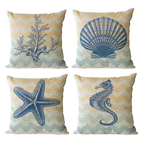 ULOVE LOVE YOURSELF Beach Pillow Covers 4 Pack Cotton Linen Nautical Throw Pillowcases Sea Theme Coastal Cushion Cover 18 x 18 inch (Sea-3) (Themed Patio Beach)