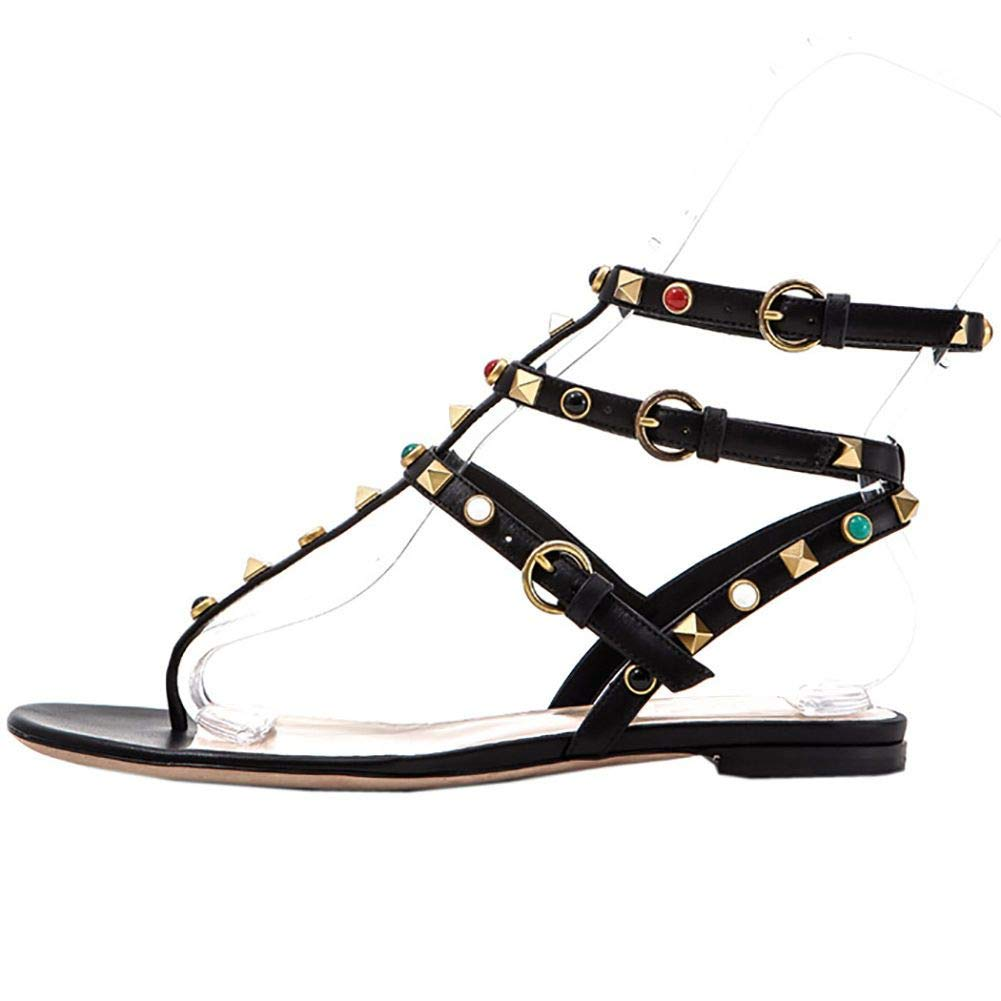 Black Heels Addict's Women's shoes Open Toe T-Strap Spiked Flat Sandals
