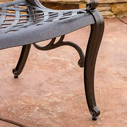 Great Deal Furniture Covington | 5 Piece Cast Aluminum Outdoor Dining Set | Perfect For Patio | in Bronze