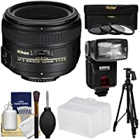 Nikon 50mm f/1.4G AF-S Nikkor Lens with iTTL Flash + Diffuser + Pistol-Grip Tripod + 3 Filters + Kit
