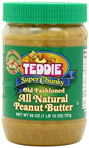 Teddie All Natural Peanut Butter, Super Chunky, 26-Ounce Jar (Pack of 3) from Teddie