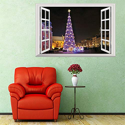 ZOMUSAR Wall Stickers for Window, Merry Christmas Sweet Holiday Scene Setters Party Decorations Wall Stickers (G)