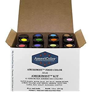 Food Coloring AmeriColor AmeriMist Airbrush Kit, 12 .65 Ounce Bottles