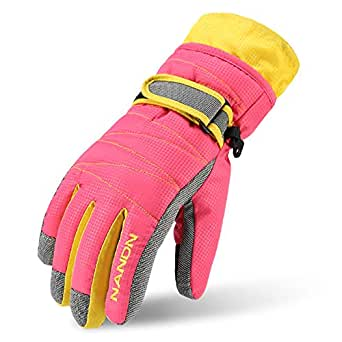 MAGARROW Kids Winter Warm Windproof Outdoor Sports Gloves for Children and Adults (Pink, Medium)