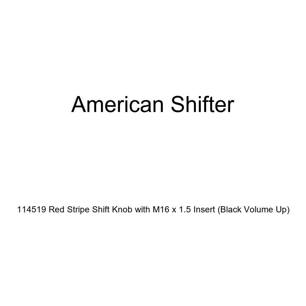 American Shifter 114519 Red Stripe Shift Knob with M16 x 1.5 Insert Black Volume Up