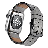 watch space - Mifa - Apple Watch band Leather 38mm Bands iwatch series 1 2 3 Replacement strap dressy classic buckle Band (38mm, Grey/Oyster)