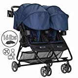 ZOE XL2 Deluxe Double Xtra Lightweight Twin Travel & Everyday Umbrella Stroller System (London Navy)