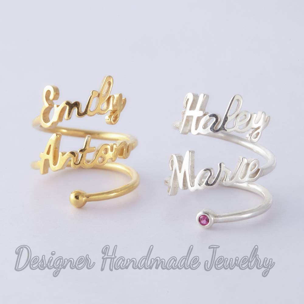 Amazon Com Two Name Ring Double Personalized Rings Stacking Name Rings Set Mother Rings With Kid Names Mom Gift Mommy Rings W Children Names Handmade