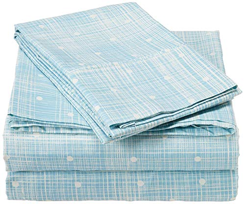 (CELINE LINEN Luxury Silky Soft Coziest 1500 Thread Count Egyptian Quality 4-Piece Bed Sheet Set    Polka Dot Pattern  Wrinkle Free, 100% Hypoallergenic, King, Aqua)