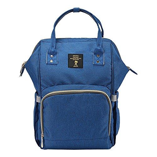 Bolso de la momia, bolso de hombro, capacidad multi-funcional grande ser producido paquete, bebé suministra la morral, carro ( Color : Negro ) Azul oscuro